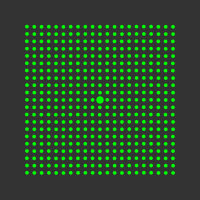 5 mW 520 nm Green Premium Structured Grid of Dots 101x101 Laser, 4° fan angle, adjustable focus, TTL+, Sealed IP67