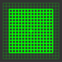 5 mW 520 nm Green Premium Structured Grid of Squares 50x50 Laser, 18° fan angle, adjustable focus, TTL+, Sealed IP67