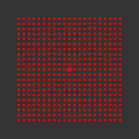 5 mW 635 nm Red Premium Structured Grid of Dots 101x101 Laser, 5° fan angle, adjustable focus, TTL+, Sealed IP67