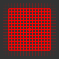 60 mW 635 nm Red Premium Structured Grid of Squares 50x50 Laser, 22° fan angle, adjustable focus, TTL+, Sealed IP67